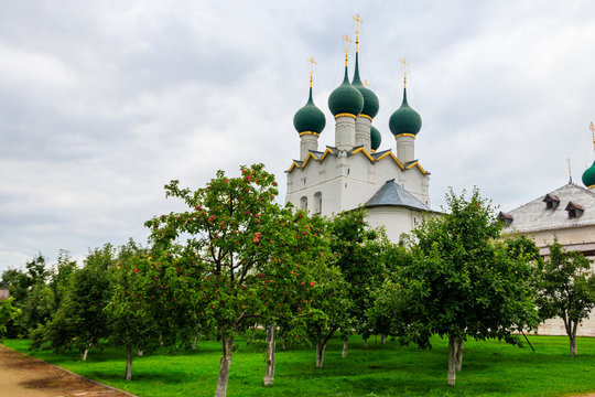 Church of St. Gregory the Theologian in Rostov kremlin, Russia. Golden ring of Russia