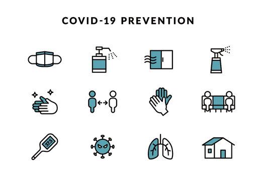 ウイルス感染症 感染予防ラインアートアイコン