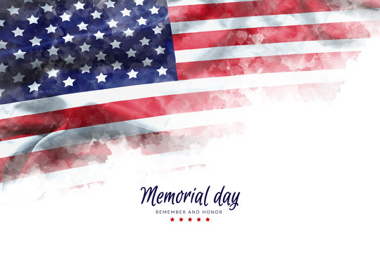 Memorial Day background illustration. text Memorial Day, remember and honor with America flag watercolor painting isolated on white background, vintage grunge style