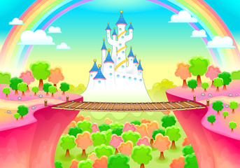 Foto op Plexiglas Kinderkamer Fantasy landscape with castle and bridge