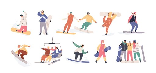 Wall Mural - Collection of snowboarders isolated on white background. Extreme winter mountain activity. Set of people wearing outfit riding snowboard. Vector illustration in flat cartoon style