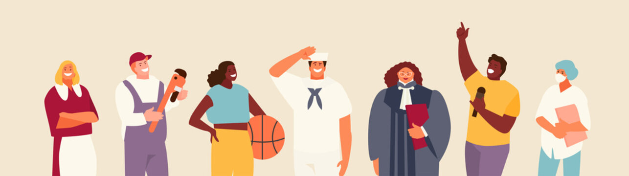 People group with different occupations and professions. Singer, athlete, sailor, judge, plumber, maid doctor vector characters