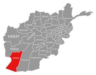 Nimruz red highlighted in map of Afghanistan
