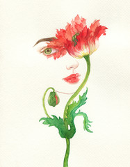 flower girl. fashion illustration. watercolor painting