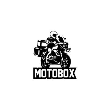 adventure motorcycle and traveler silhouette logo