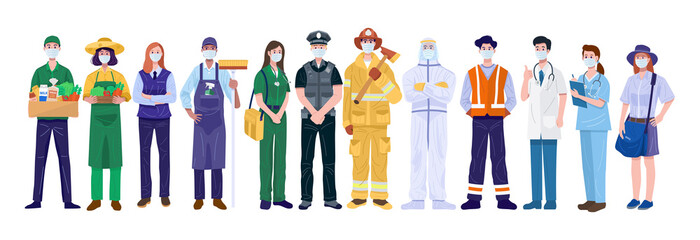 Thank You Essential Workers Concept. Various occupations people wearing face masks. Vector Fotomurales