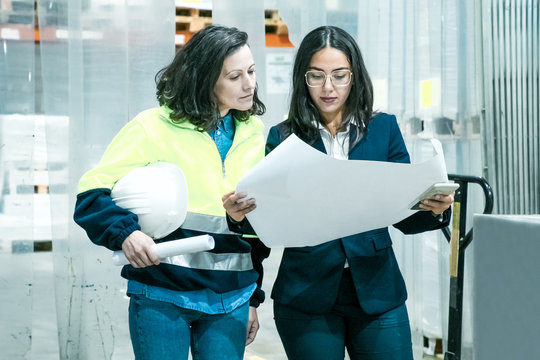 Boss discussing new plan with factory worker. Front view of two women inspecting blueprint. Print manufacturing concept