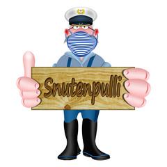 Nordeutscher Seemann hält Schild mit dem plattdeutschen Wort Snutenpulli
