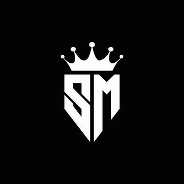 SM logo monogram emblem style with crown shape design template