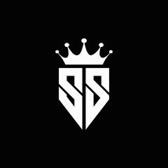 SS logo monogram emblem style with crown shape design template
