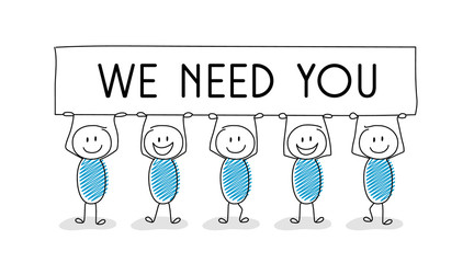 "Cartoon people holding banner with ""we need you"" text.  New vacancy concept. Vector"