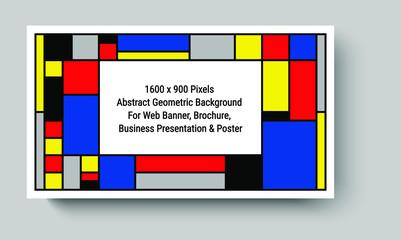 Tribute to Mondrian, De Stijl, vector layout of 1600 x 900 pixels abstract geometric background suitable for Web Banner, Business Presentation & print templates. A Piet Mondrian style emulation.