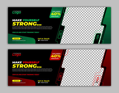 Gym Fitness Banner template facebook cover for business promotion