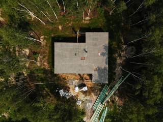 Fototapeta budowa domu zalewanie stropu, dom w lesie obraz