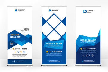 Roll-up design banner, creative abstract background of triangles, banner for presentations, advertising of products and events, background for a brochure or booklet, advertising background