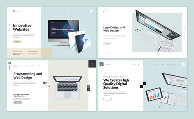 Wall Mural - Set of flat design web page templates of web and logo design, programming, startup, business services. Modern vector illustration concepts for website and mobile website development.