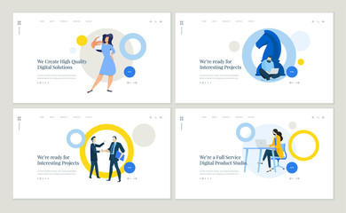 Wall Mural - Set of flat design web page templates of social media, project management, business strategy, digital services. Modern vector illustration concepts for website and mobile website development.