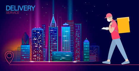 Walking city delivery box. Walk road neon lights food shipping mobile app order. Package quarantine thermal bag backpack dinner meal. Fast delivery concept vector illustration