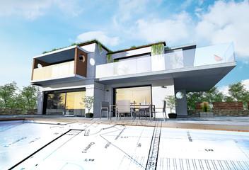 Projet et plan de maison 3D d'architecte moderne et contemporaine