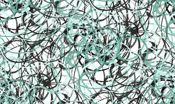 Seamless abstract swirl brushes mint green pattern.  white background