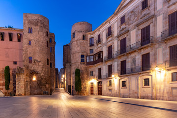Fototapete - Ancient Roman Gate and Placa Nova at night, Barri Gothic Quarter in Barcelona, Catalonia, Spain