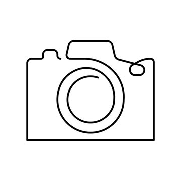 One line camera design. Hand drawn minimalism style vector illustration.