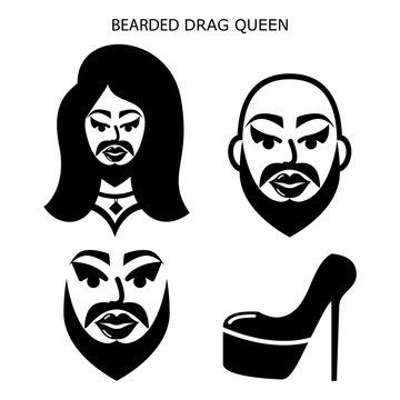 Bearded drag queen vector icons set, drag show, drag performance, man with beard dressed as sexy woman idea