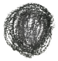 black color round texture crayon spot on a white background