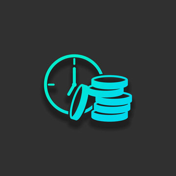 Time is money. Clock and coin stack. Finance icon. Colorful logo