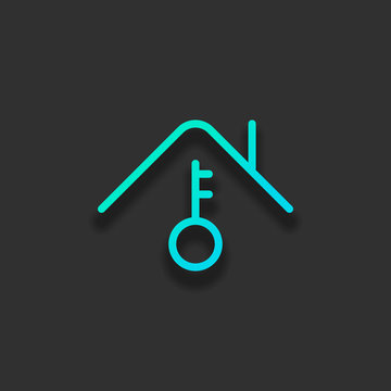 House and key, own home, outline design. Colorful logo concept with soft shadow on dark background. Icon color of azure ocean