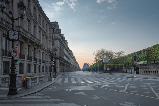 Sunrise on the empty street of Rivoli in Paris, France, during the covid-19 confinement in Avril 2020