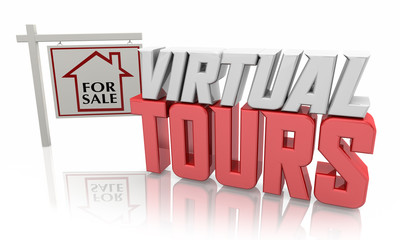 Virtual Toors Remote Home Viewing House for Sale Online App 3d Illustration Fotobehang
