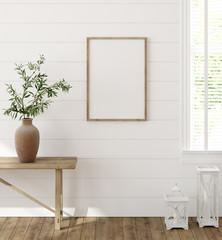 Fototapete - Frame mockup in farmhouse living room interior, 3d render