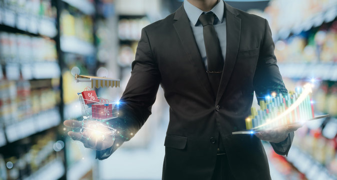 Futuristic Technology in smart retail for high growth selling rate by using ai artificial intelligence, machine learning, digital twin, 5g, big data, iot, augmented mixed virtual rality, ar, vr,robot