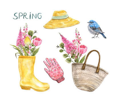 Watercolor gardening elements set, hand drawn illustration. Spring decor. Garden rubber rain boots vase with pink and yellow flowers bouquet, sun blue bird, straw bag, isolated on white background.