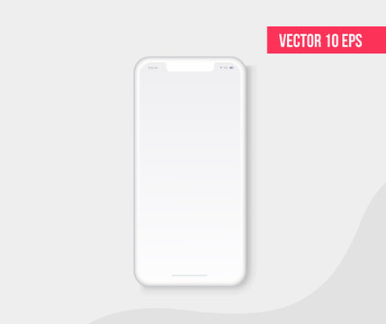 Smartphone blank screen, realistic white phone mockup. Template for infographics or presentation UI design interface