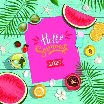 summer background with tropical fruits
