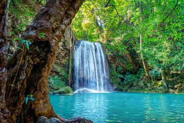 Wall Mural - Erawan waterfall in Thailand. Beautiful waterfall with emerald pool in nature.