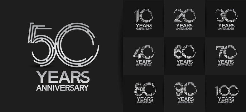 Anniversary logotype set with silver color. vector design for celebration purpose, greeting, invitation card	premium edition.