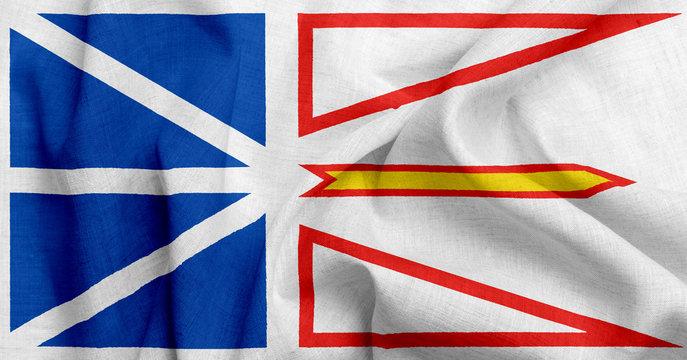 Flag of new foundland labrador, USA with waving fabric texture