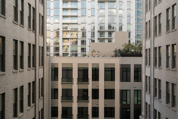 Historic 1920s' and modern apartment and office building windows in Downtown Los Angeles