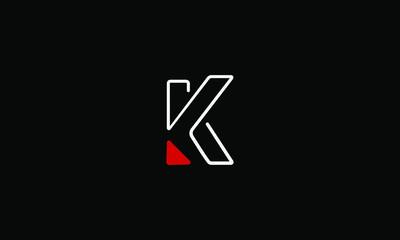 Abstract letter K logo design. Creative,Premium Minimal emblem design template. Graphic Alphabet Symbol for Corporate Business Identity. Initial KK vector element