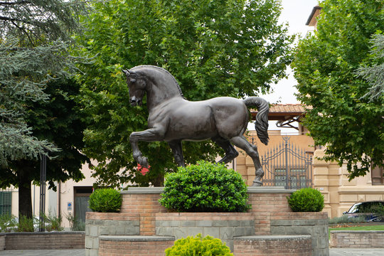 View of the statue in bronze of an horse in Vinci ideated by Leonardo Da Vinci, Italy