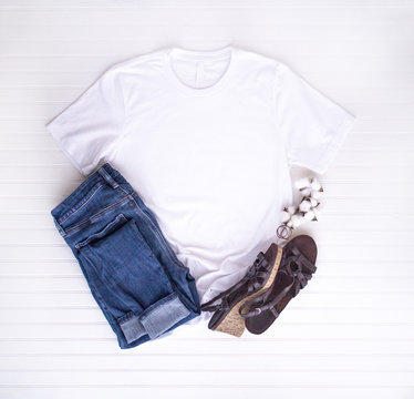 White tee mockup - tshirt with cotton balls, boots & jeans