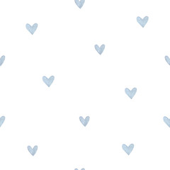 Blue heart seamless pattern. Watercolor hearts. Packaging design for gift boxes, textile, print, fabric, wallpaper.