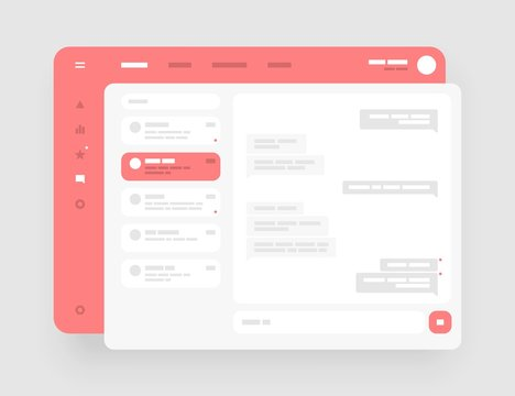 Concept for chat, social media, online messenger kit. Wireframes screens. Dashboard UI and UX Kit design. Use for mobile app or website.