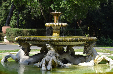 Fontana dei Cavalli Marini in Villa Borghese Park in the city of Rome, Italy
