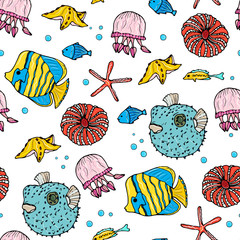 Sea animals  ocean seamless pattern. Shell aquarium background with fish, corral, shells, jellyfish, starfish and algae. Nautical marine illustration