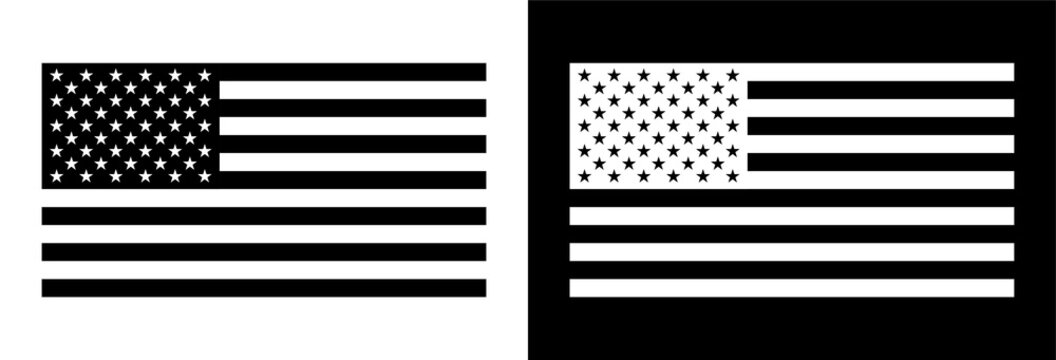 American Flag in Blank and White Color