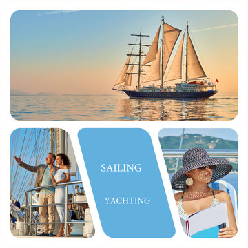 Travel photo collage of happy people on a ship. Yachting